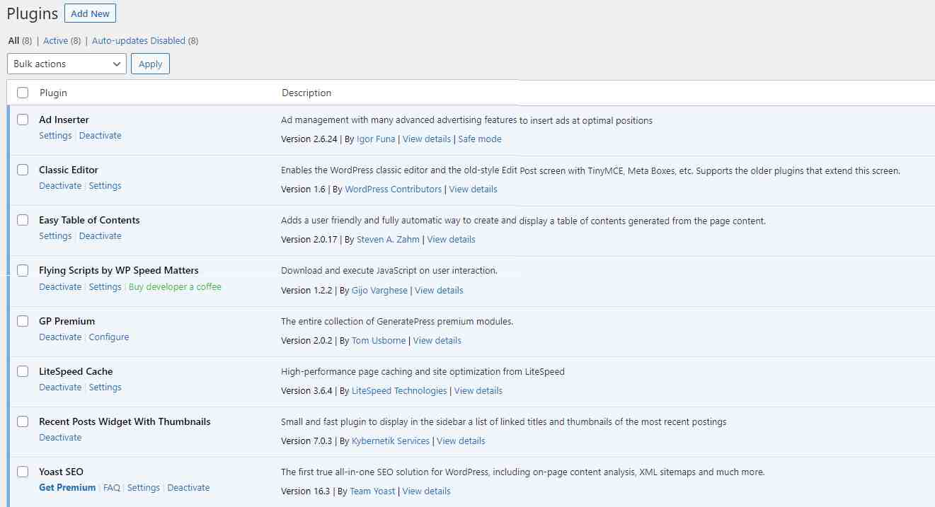Plugin diatas adalah plugin yang diterapkan oleh website infodong.id