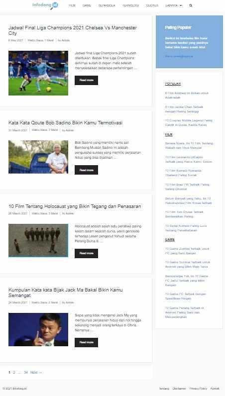 Tampilan halaman utama website infodong.id