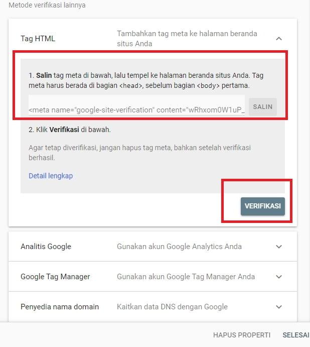 Metode Verifikasi Tag HTML (Google Webmaster Tools)