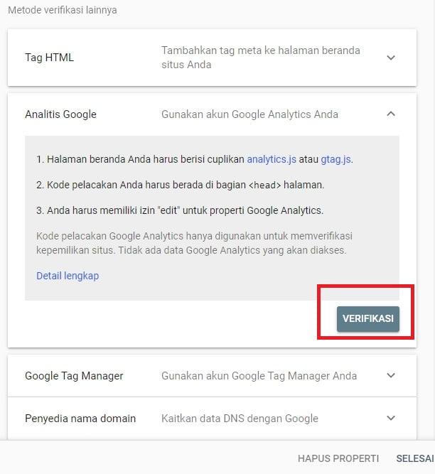Metode Verifikasi Analitik Google atau Google Analytics (Google Webmaster Tools)