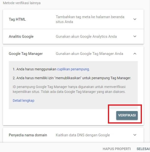 Metode Verifikasi Google Tag Manager (Google Webmaster Tools)
