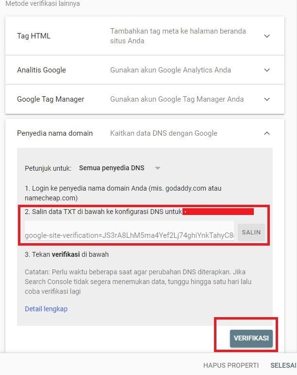 Metode Verifikasi Penyedia Nama Domain (Google Webmaster Tools)
