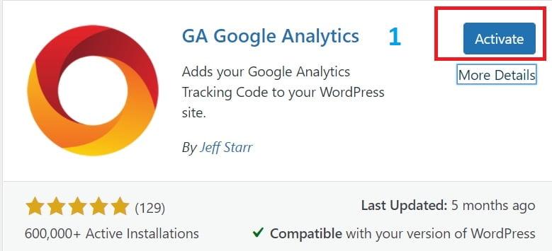 Plugin Google Analytics (langkah 1)