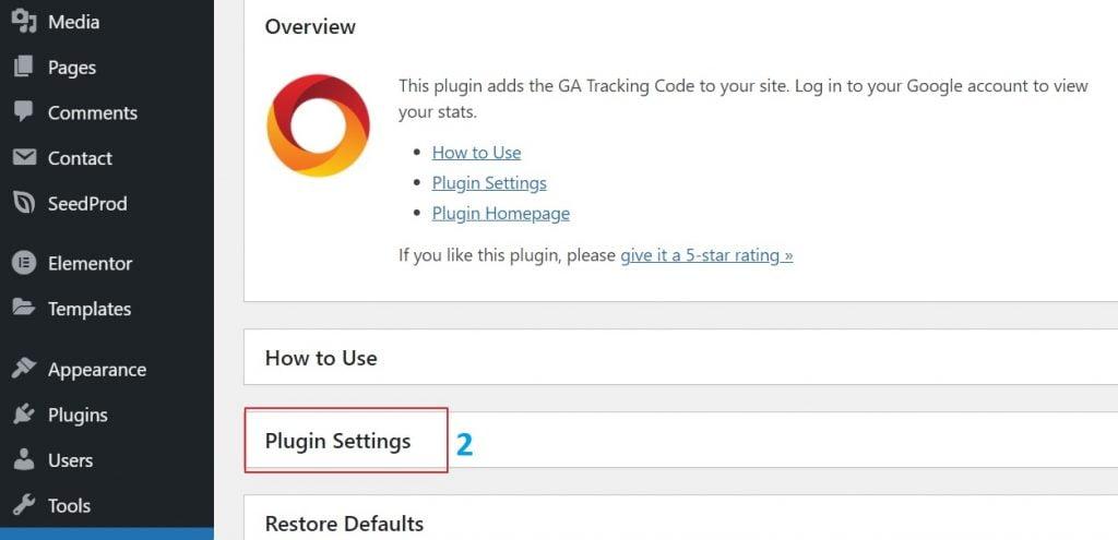 Plugin Google Analytics (langkah 2)