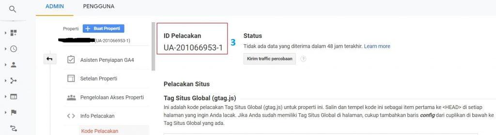 Plugin Google Analytics (langkah 3)