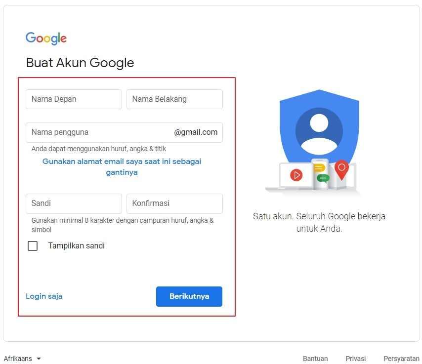 Daftar akun gmail terlebih dahulu jika ingin menggunakan Google Analytics.