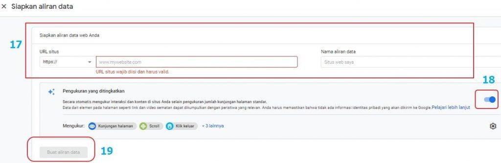 Persiapan nama situs di Google Analytics
