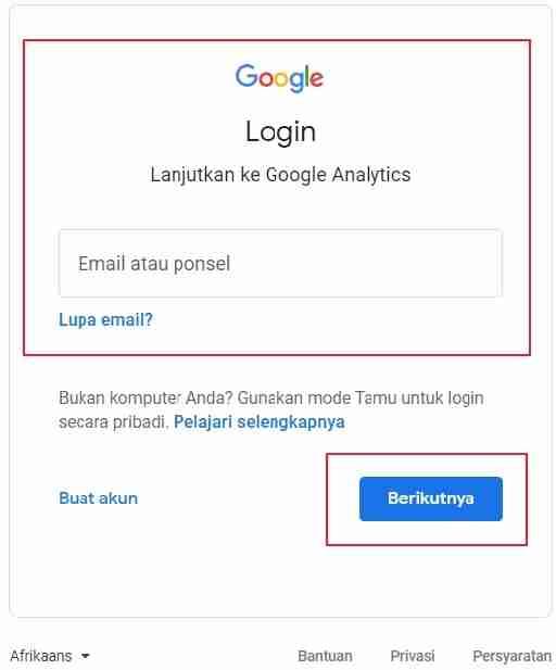 Klik berikutnya untuk memulai Google Analytics.