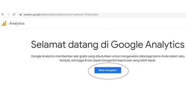 Klik mulai mengukur untuk langkah selanjutnya Google Analytics.