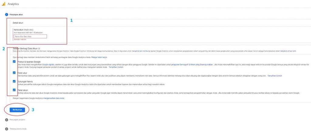 Penyiapan Akun Google Analytics.